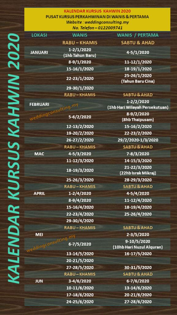 Kalendar Kursus Kahwin - Januari hingga Jun 2020